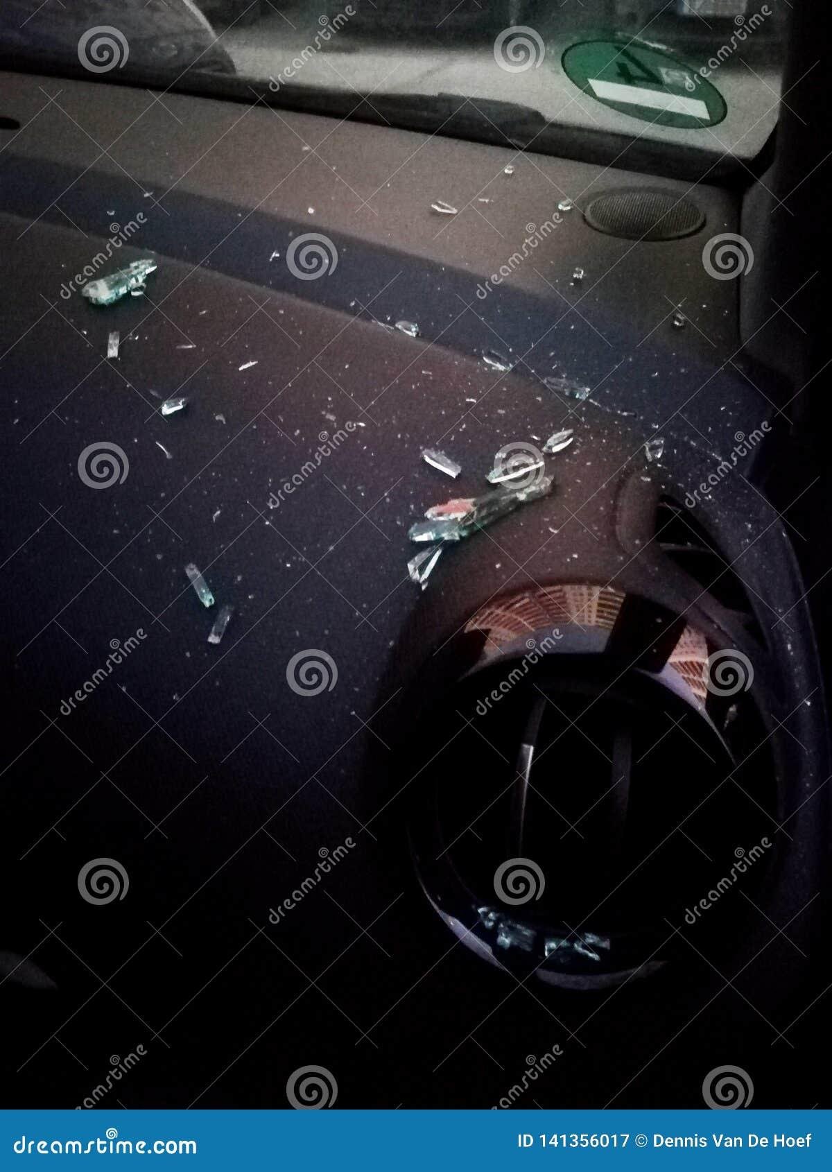 A broken car triangular window.