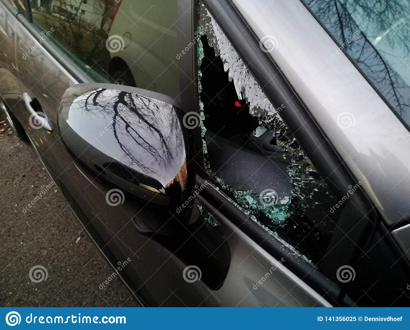 A broken car triangular window.