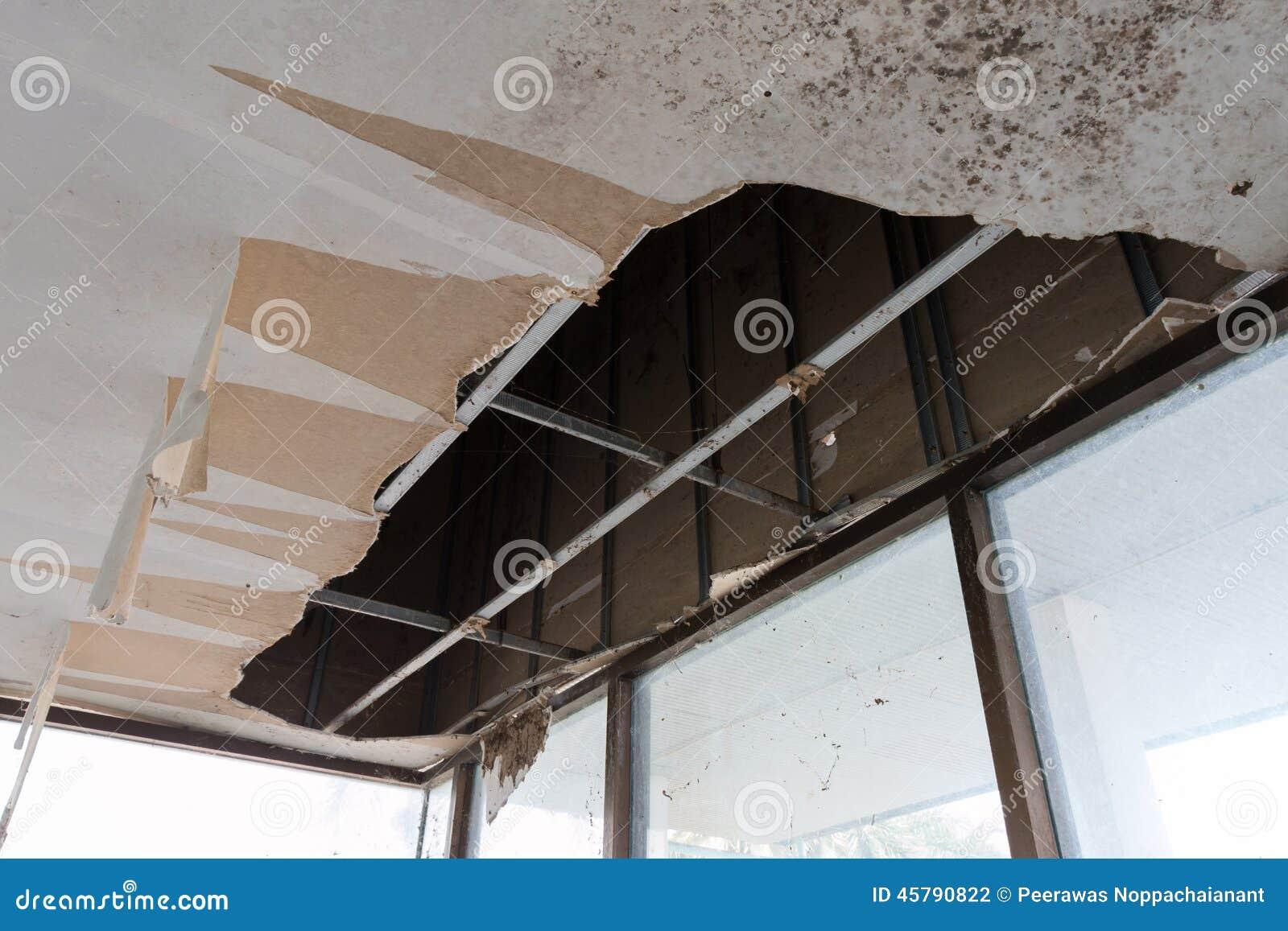 Broken Ceiling Fan : Broken ceiling stock photo image of wooden disaster