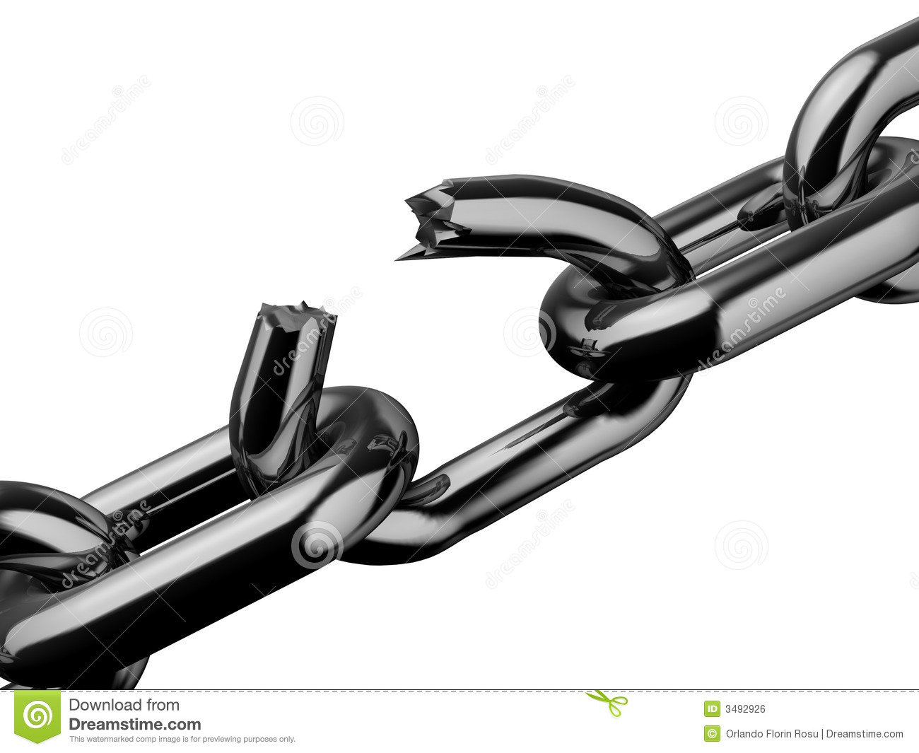 how to draw a broken chain