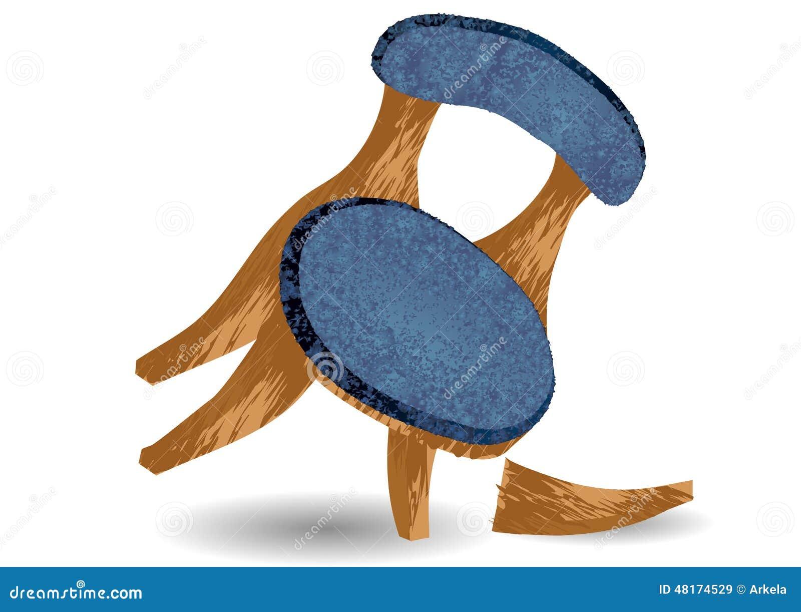 Broken chair leg stock vector illustration of chair - Chaise qui se balance ...