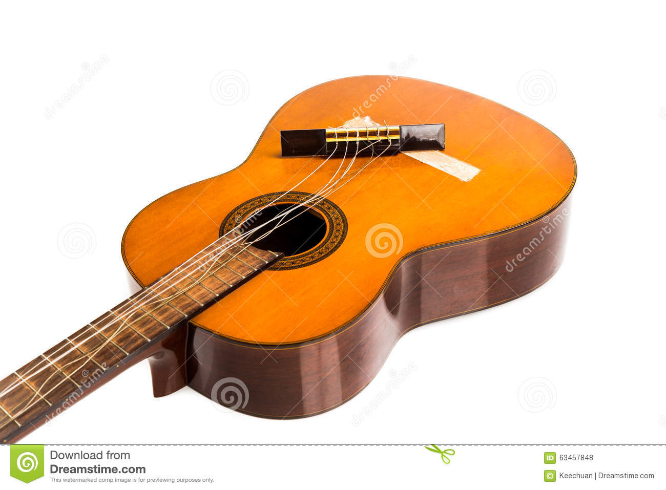 broken classical guitar with detached bridge isolated in white b stock photo image of acoustic. Black Bedroom Furniture Sets. Home Design Ideas