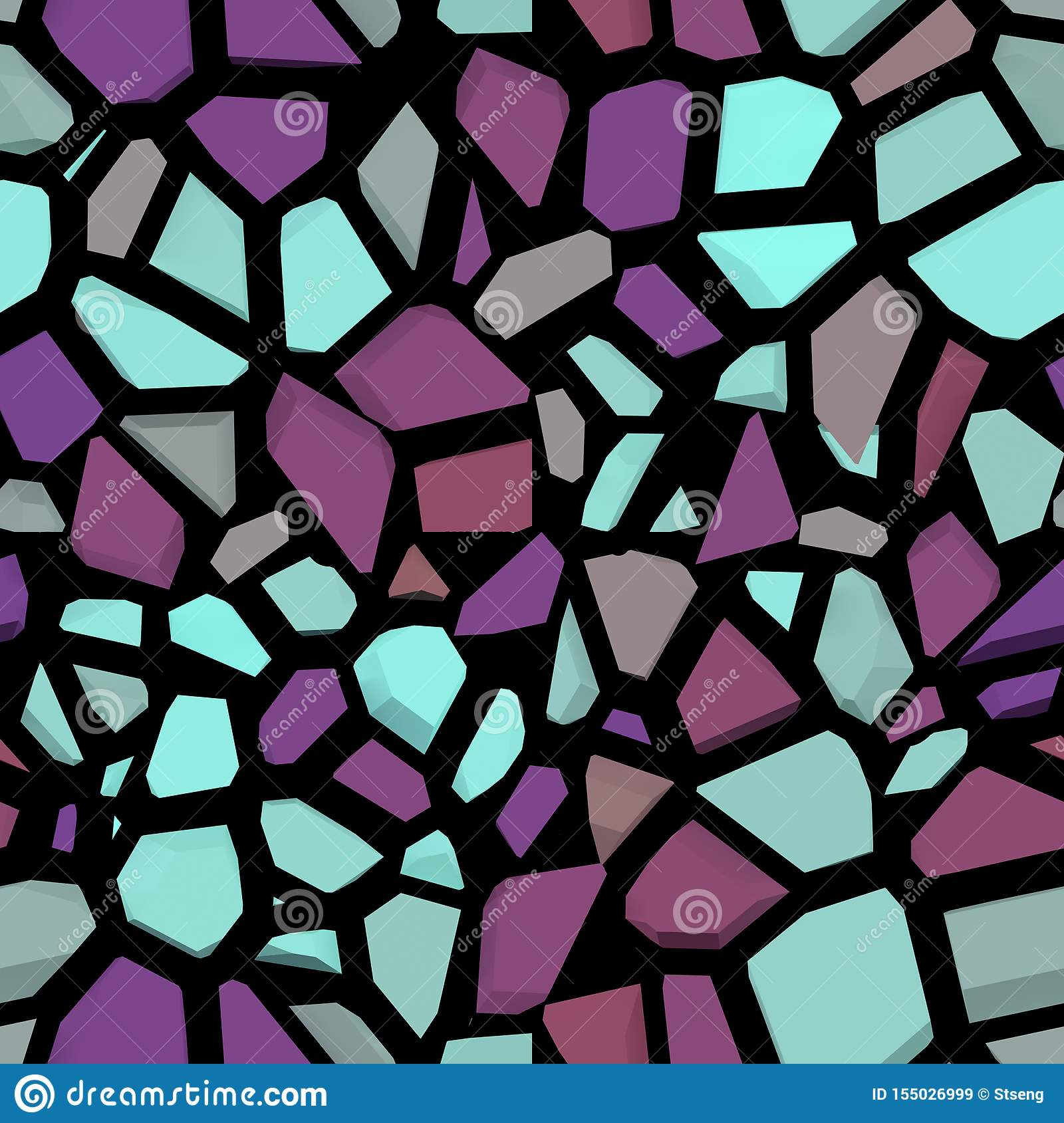 Broken color stone mosaic . the color stone wall seamless and texture interior background,3D rendering
