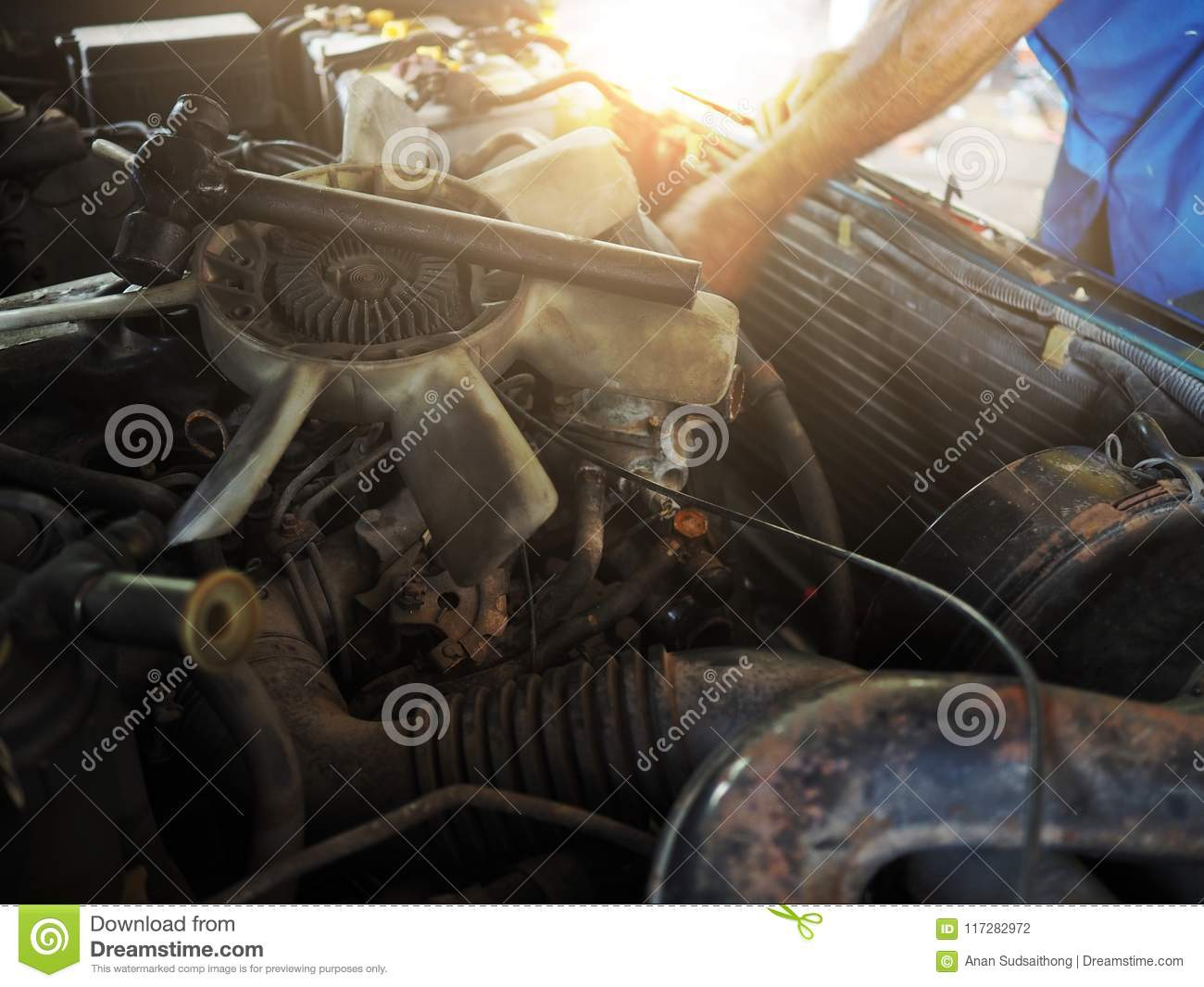 Broken Cooling Fan Motor Of Car Is Being Removed In Garage Auto Cool Download Repair Service