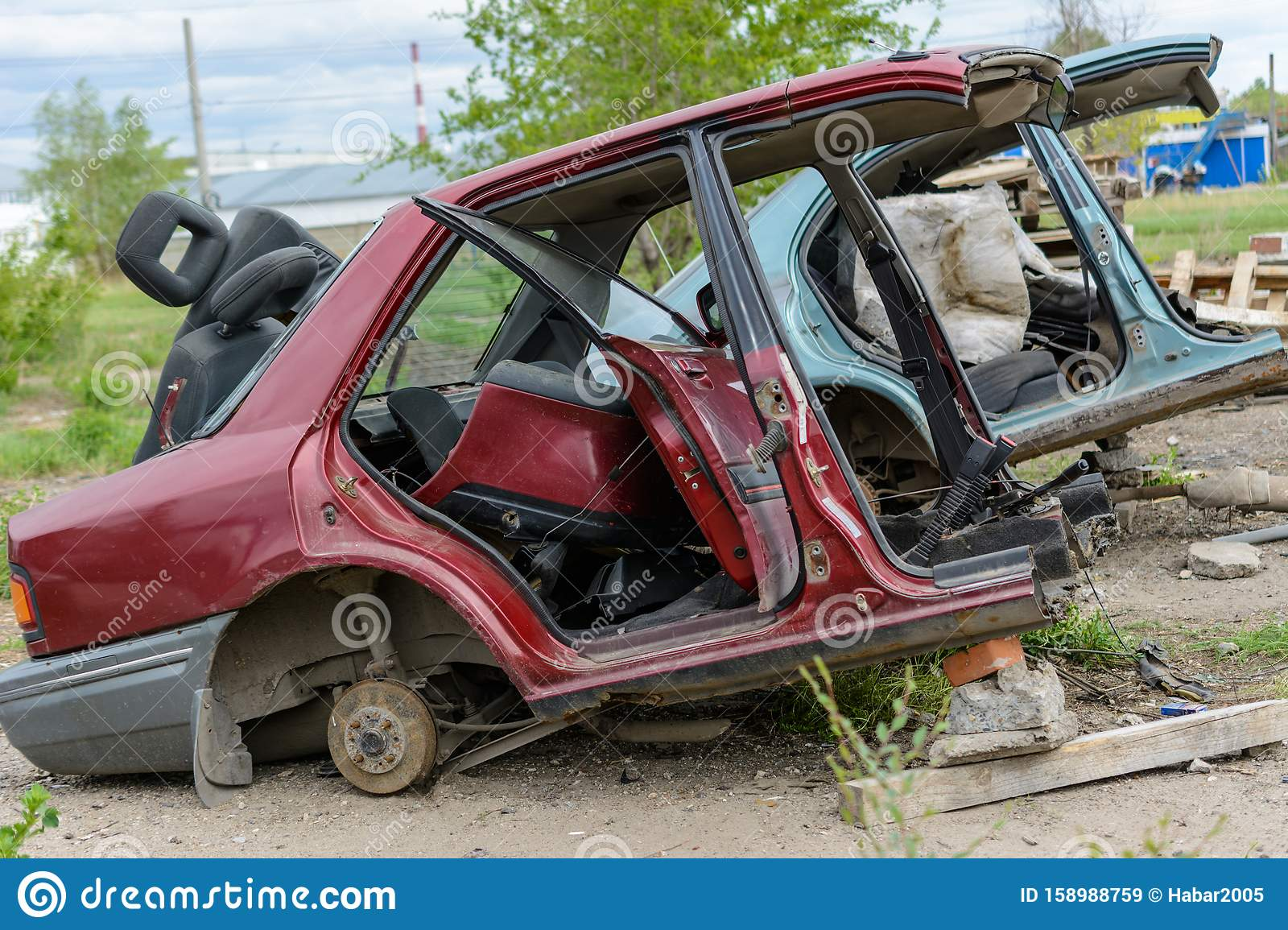Broken, Crumpled, Dented Car After The Accident. Abandoned Wrecked Cars.  Dump Of Wrecked Cars Stock Image - Image of outdoors, emergency: 158988759
