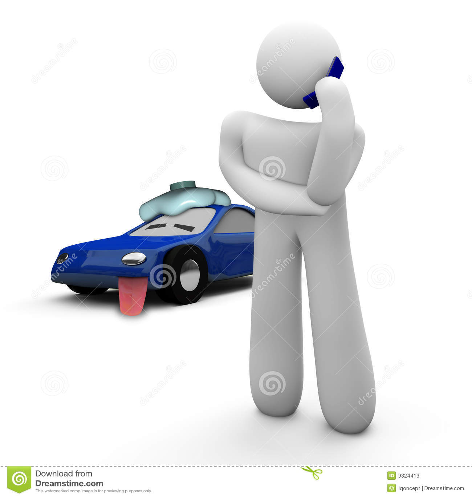 Broken Down Car Call For Help Stock Illustration