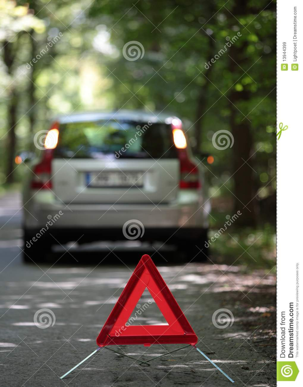 Broken Down Abandoned Stock Photos Broken Down Abandoned: Broken Down Car With Warning Triangle Royalty-Free Stock