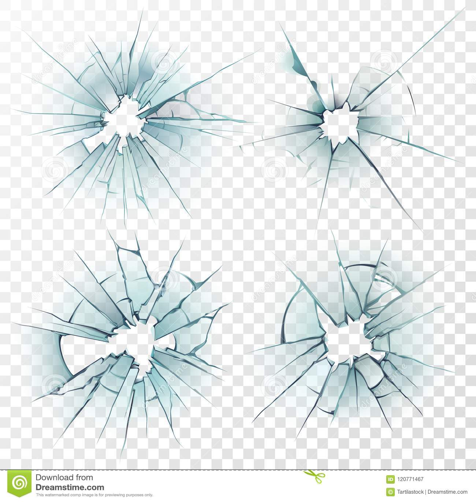 Broken exponeringsglas Sprucken textur på spegeln, slog fönster eller den skadade bilvindrutan Realistisk uppsättning för spricka