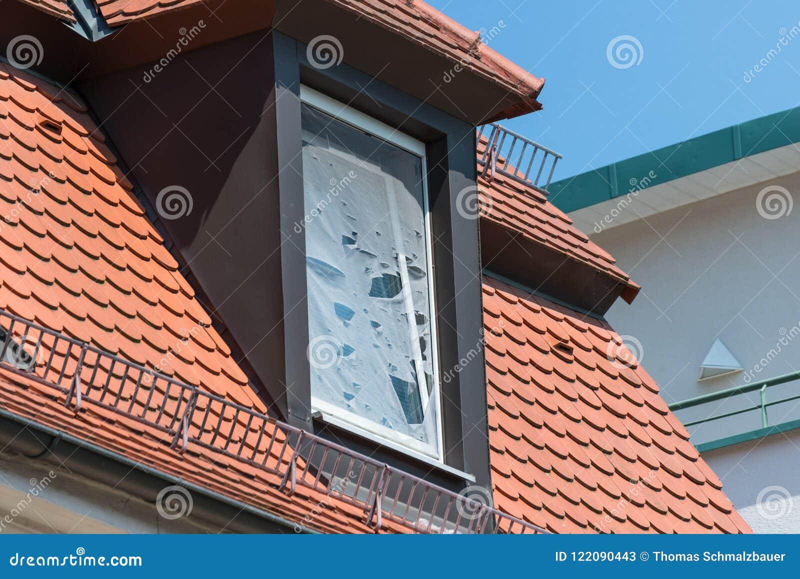 Broken fly screen on a roof window