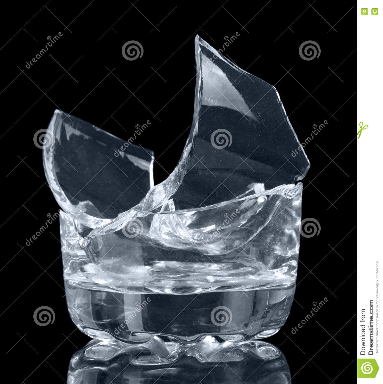 broken glass beaker on black background stock image