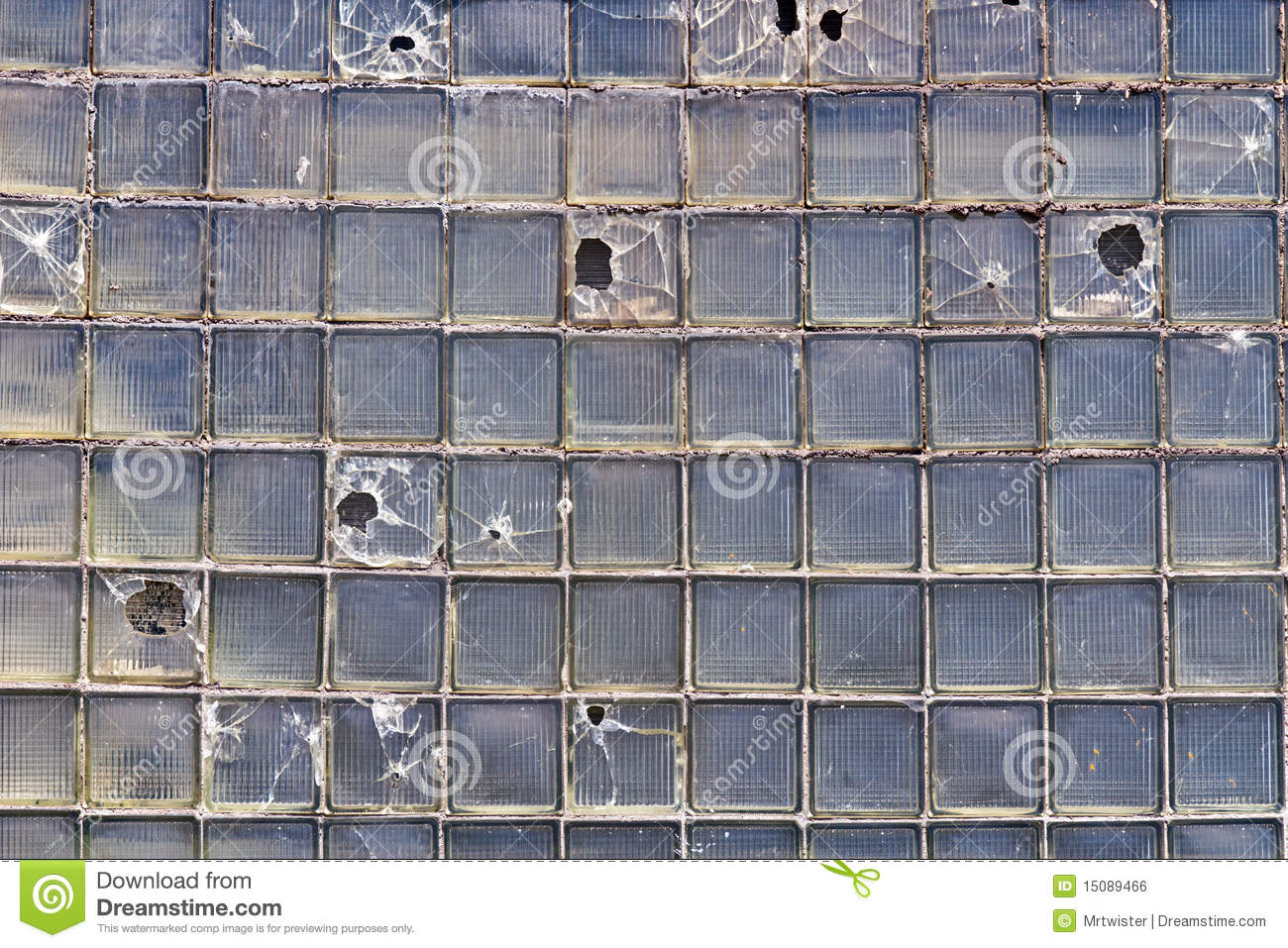Broken Glass Bricks Wall Stock Photo Image Of Hole