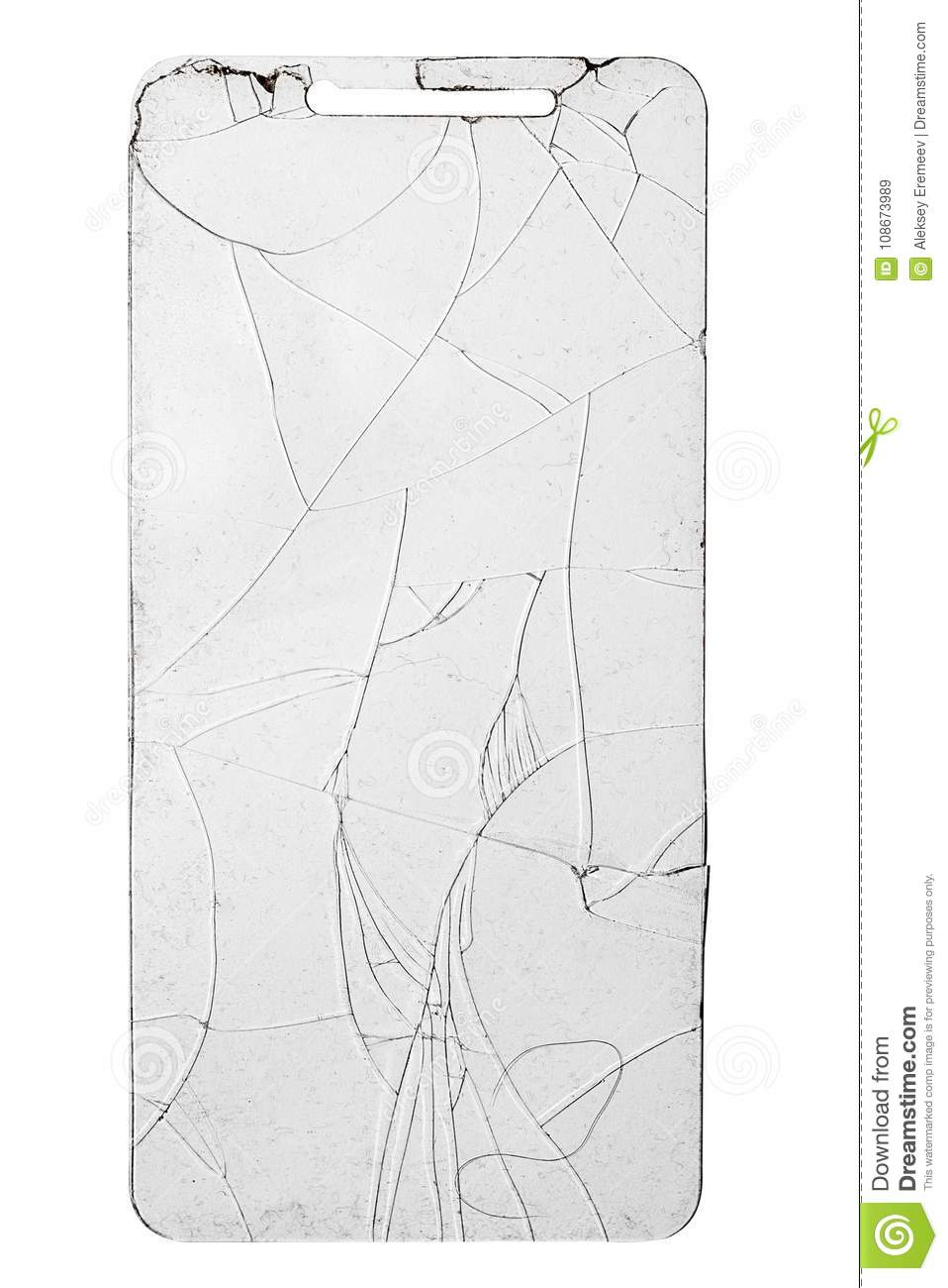 Broken Glass For Phone On Isolated White Background Stock Image ...