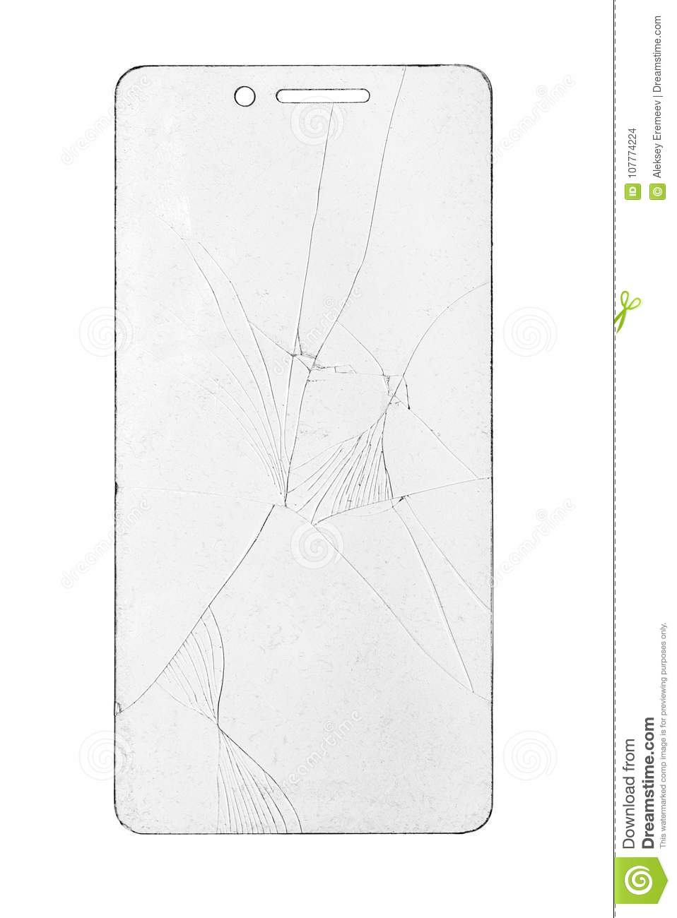 Broken Glass For Phone On Isolated White Background Stock Photo ...