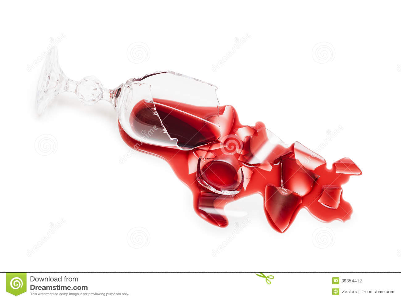 Broken glass of wine