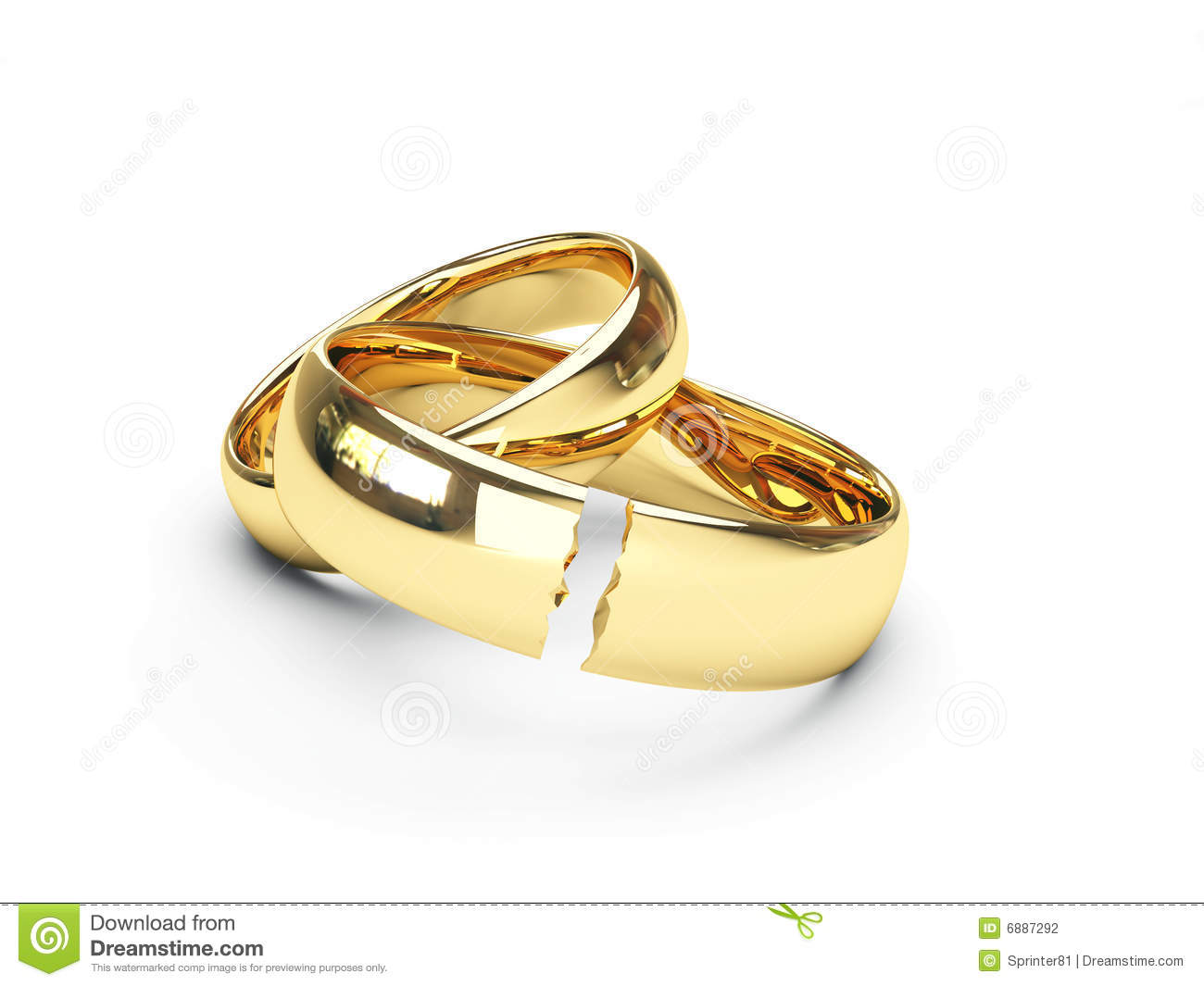 Broken Gold Wedding Rings Stock Photography Image 6887292