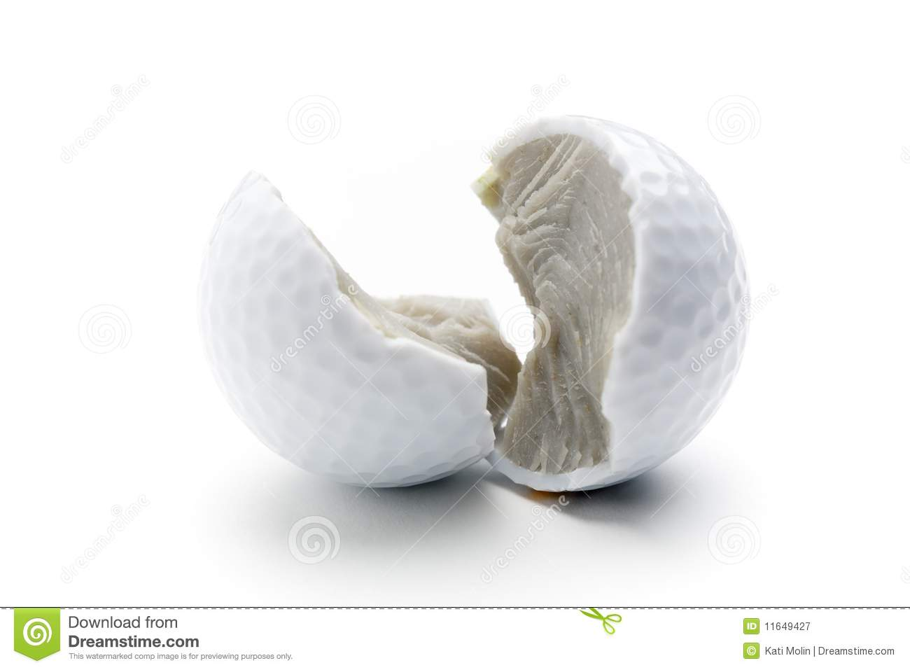 Broken Golf Ball Royalty Free Stock Photography - Image: 11649427