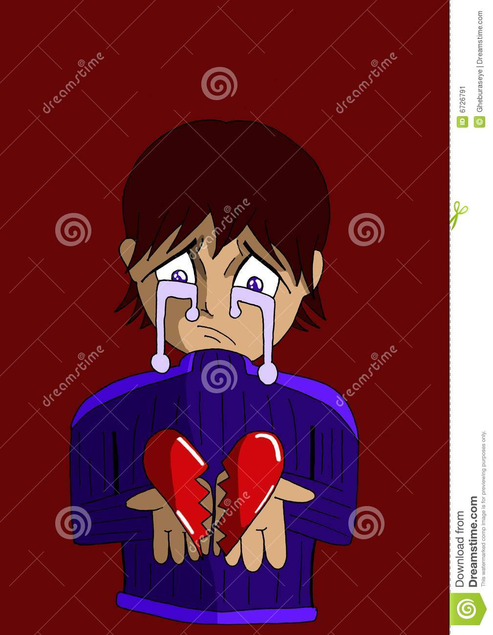 Sad Boy With A Broken Heart In His Hands Stock Image Illustration