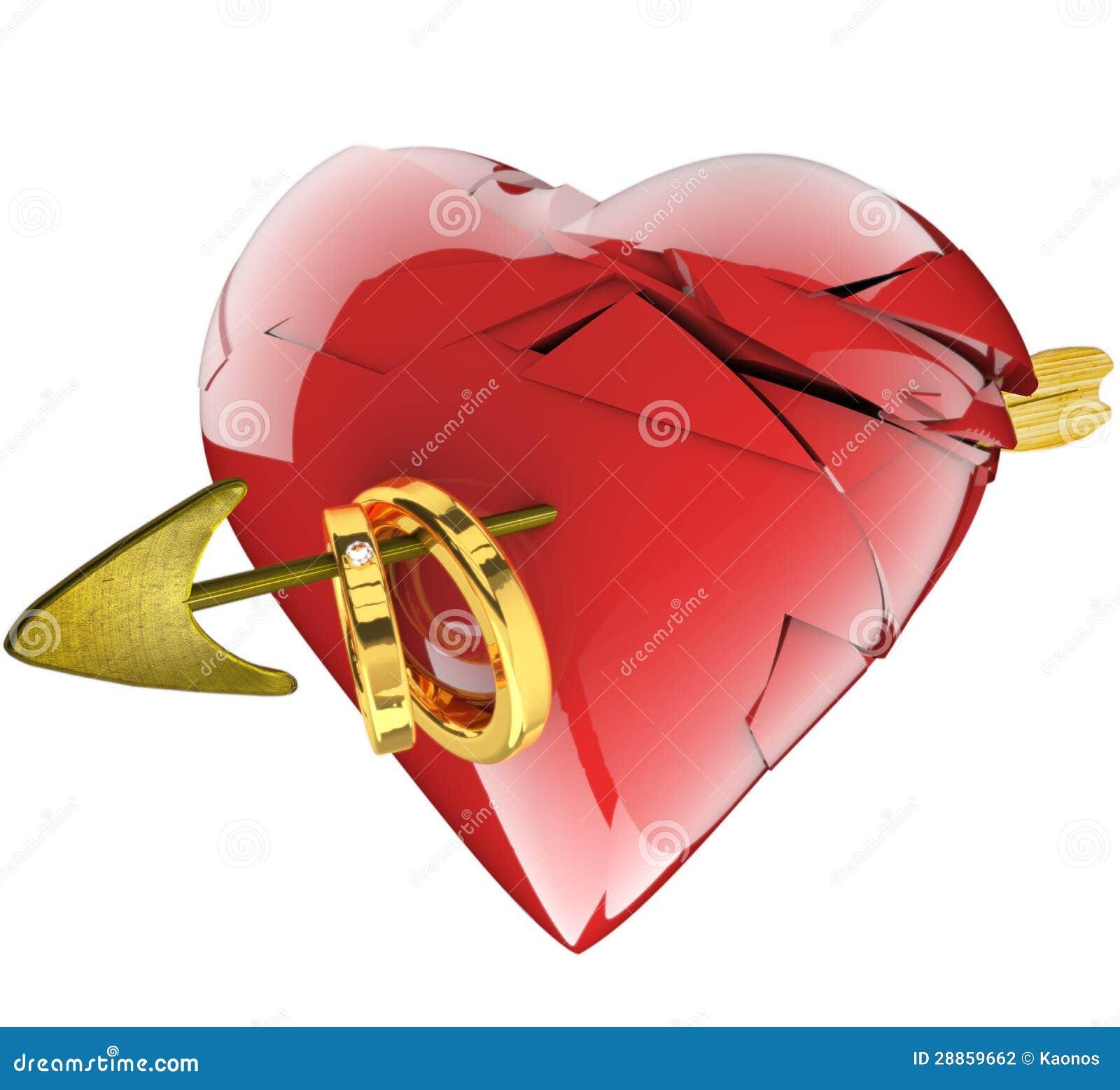 A Broken Heart, An Arrow And Wedding Rings Stock