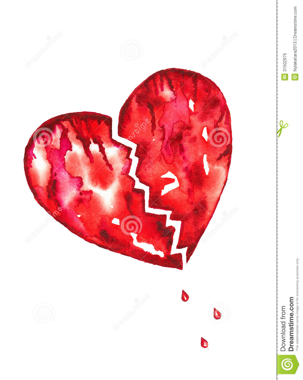 Broken Heart With Blood Droplets Watercolor Stock ...