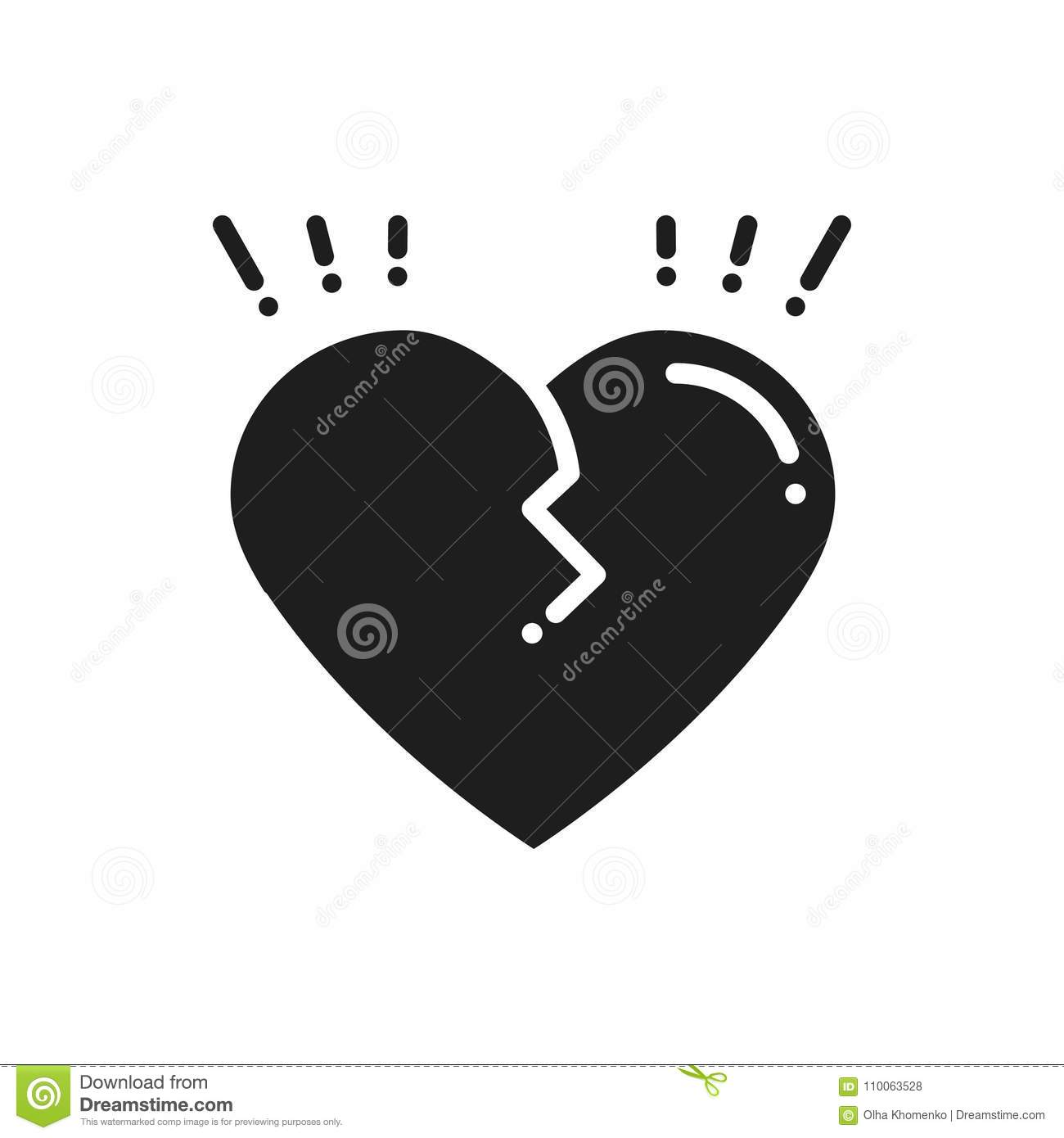 Broken Heart Line Icon. Sign And Symbol. Love End Relationship Lie ...