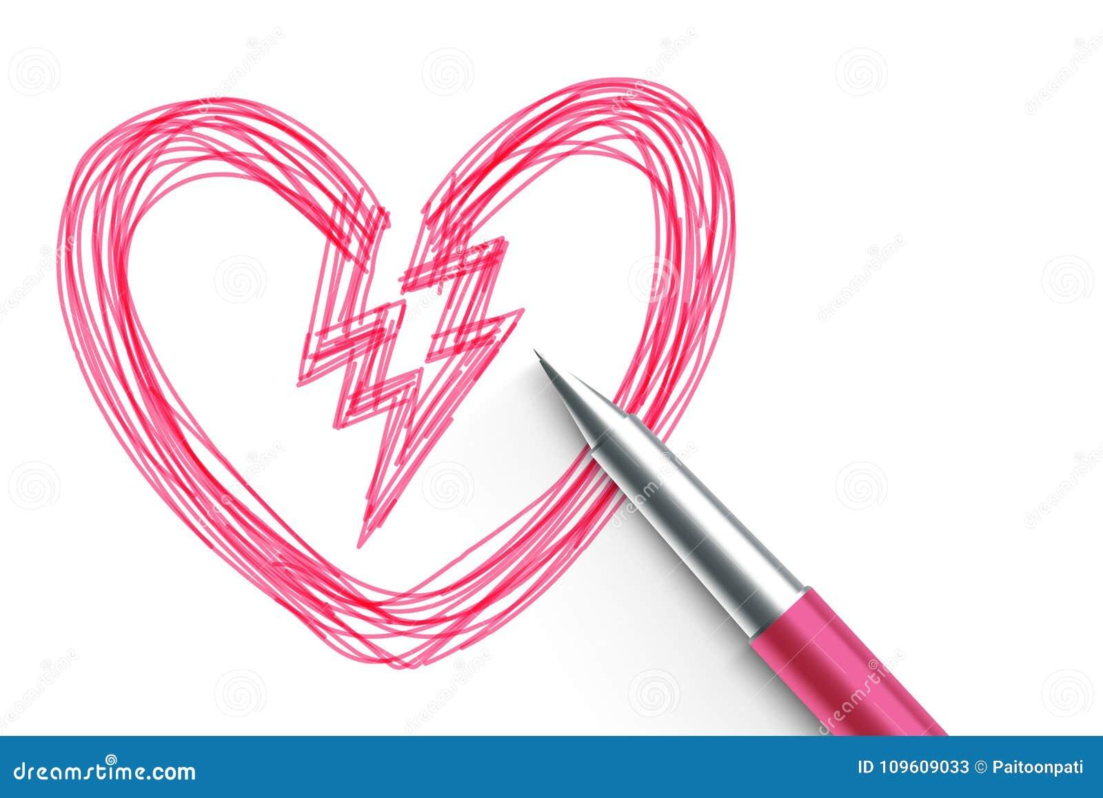 Broken Heart Symbol Hand Drawing By Pen Sketch Pink Color Valentine