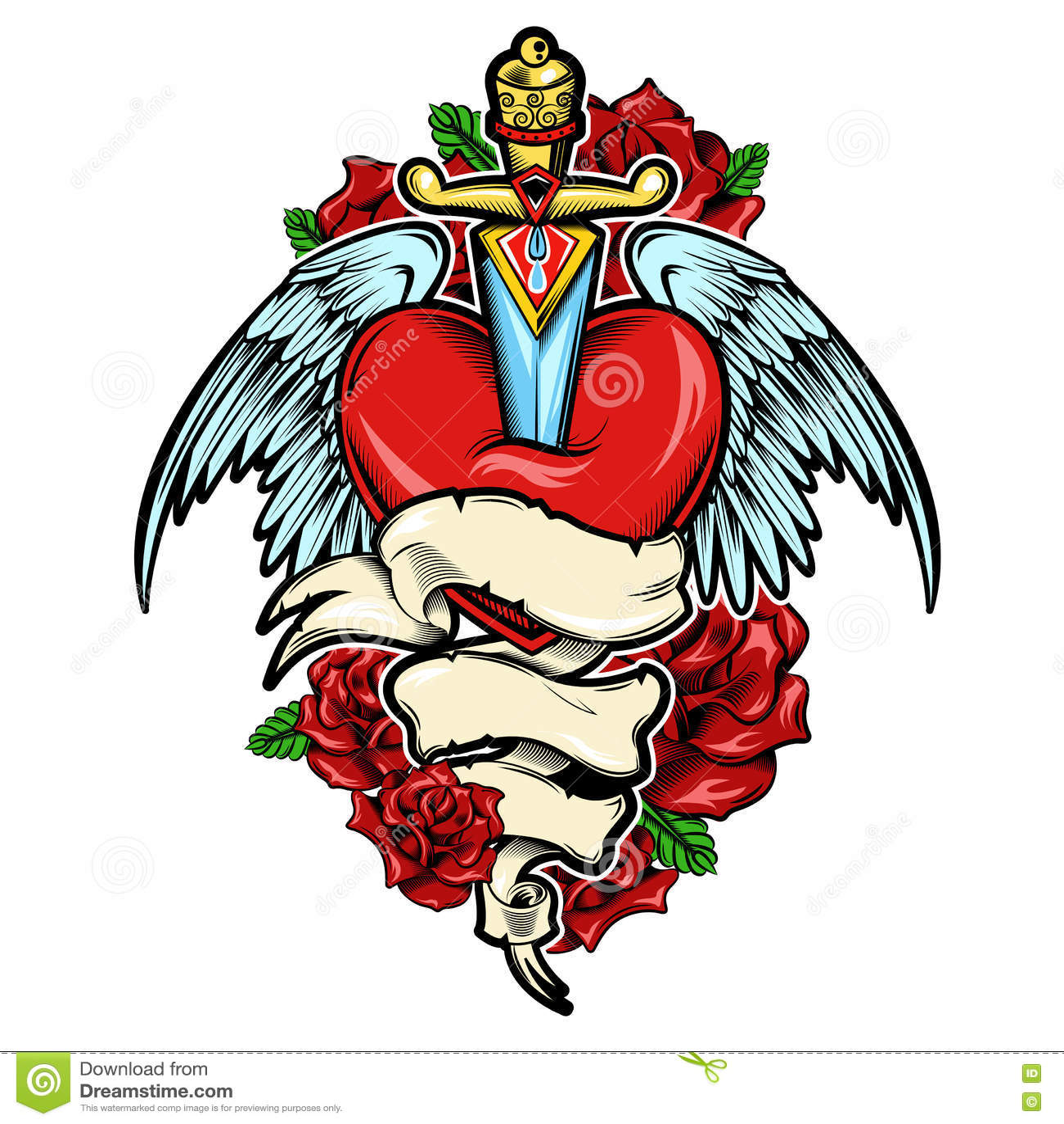 Broken Heart Tattoo Design Stock Vector Illustration Of Layout