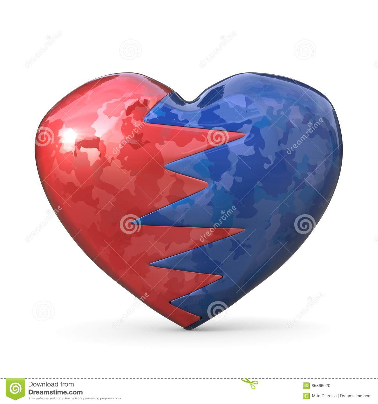 Broken Heart, Two Pieces, Red And Blue One. 3D Stock ...