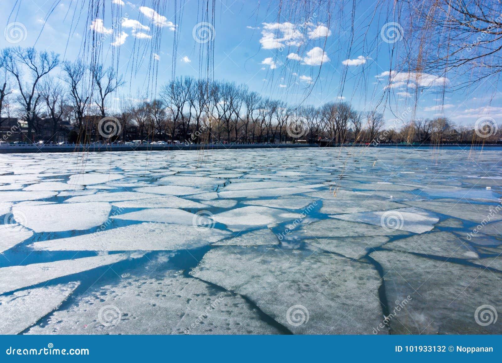 Broken ice at Houhai lake in Beijing, China