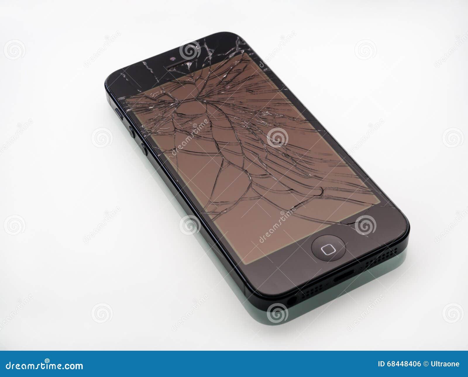 Broken iPhone with cracked screen