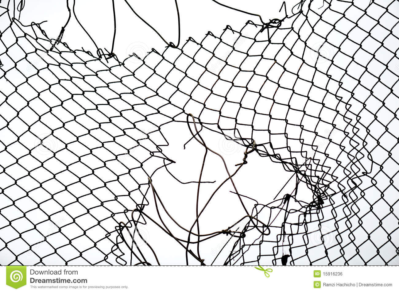 Broken iron wire fence stock photo. Image of link, backdrop - 15916134