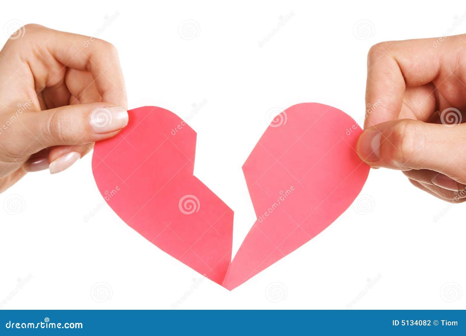 Broken kvinna för man för handhjärtaholding