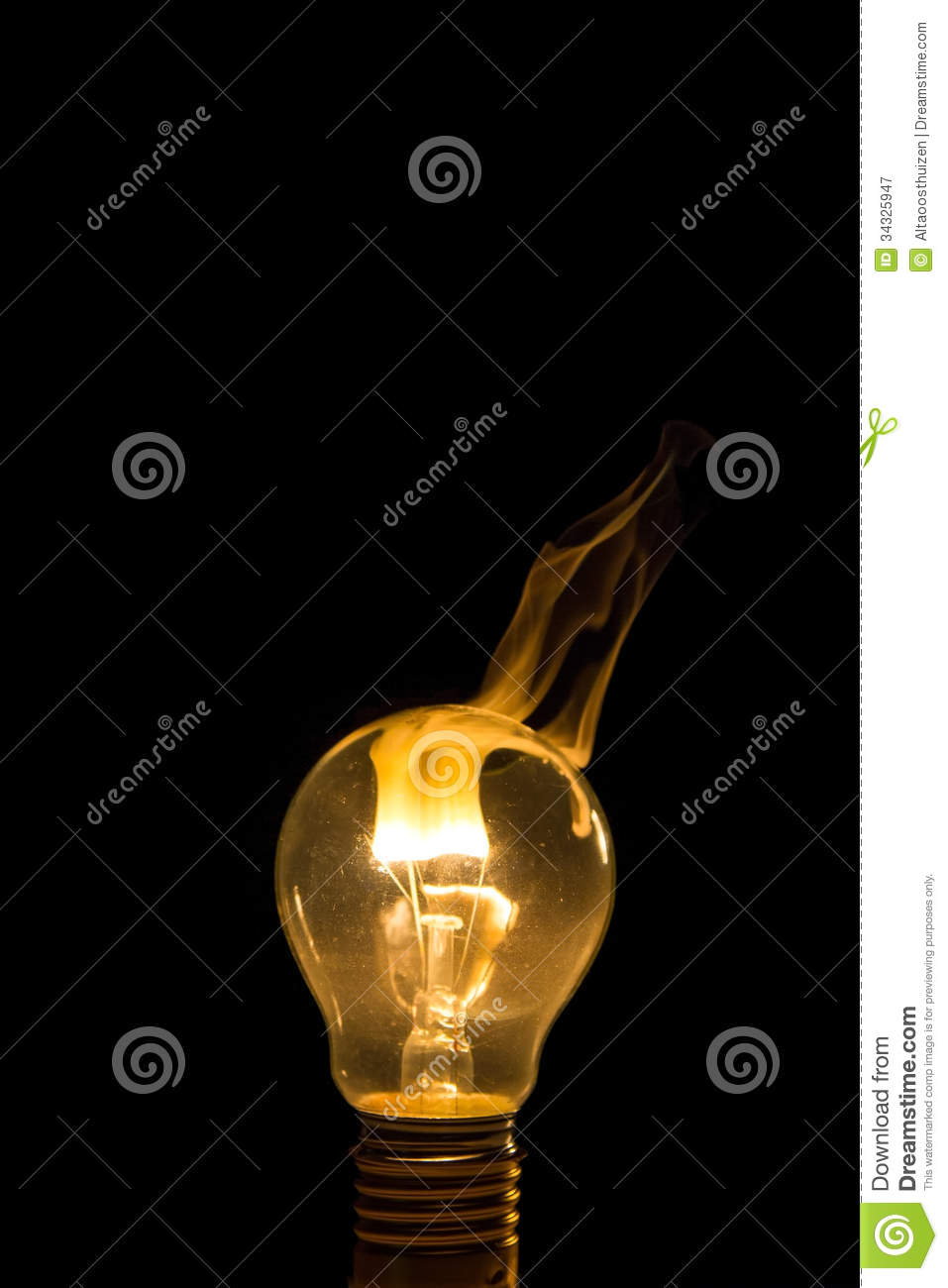 Broken Light Bulb Burn Out With Flame Stock Image - Image of