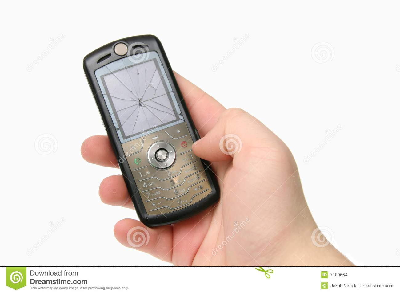 Broken mobile phone with cracked display in hand