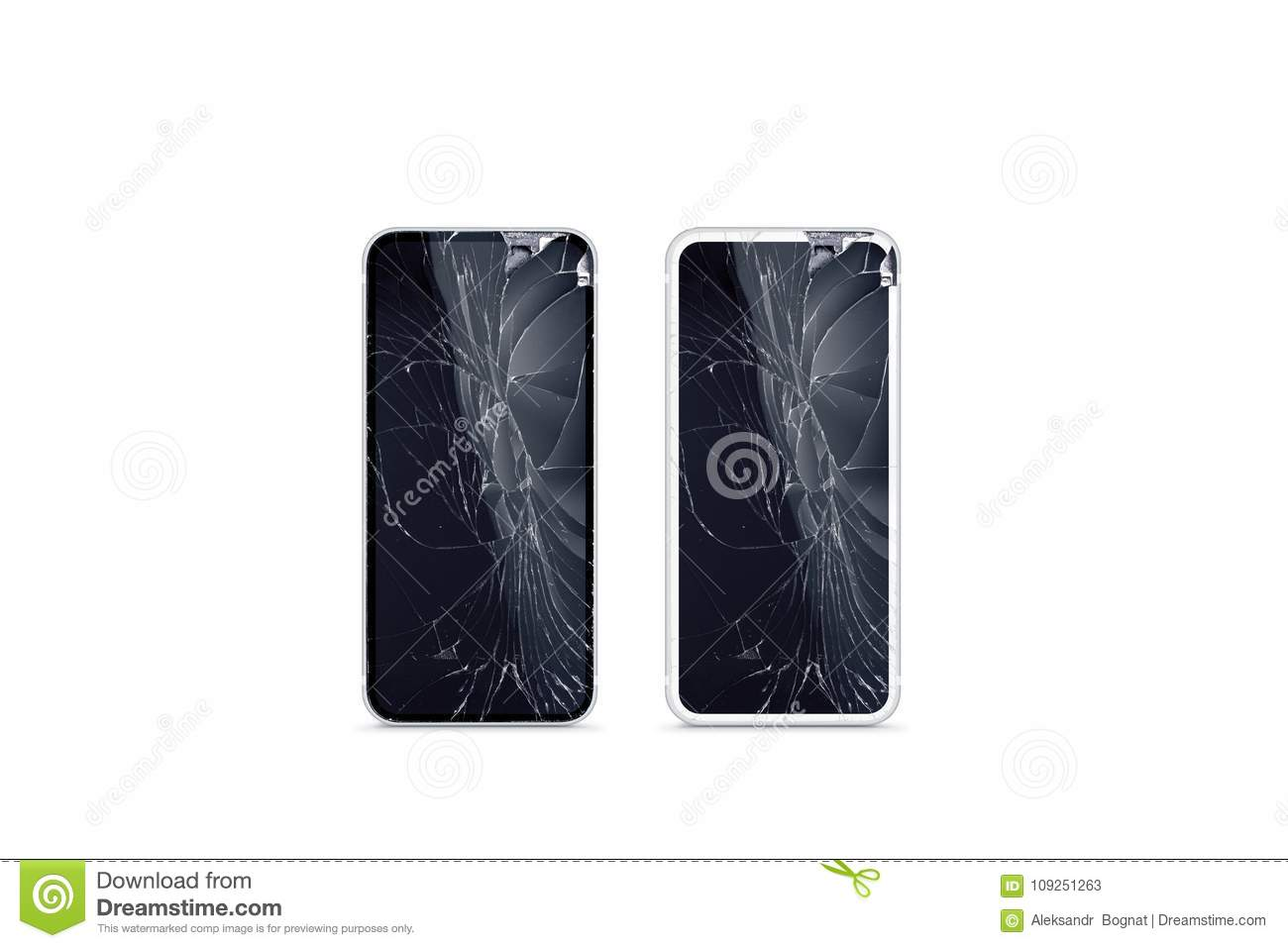 Broken mobile phone screen mockup, black and white, front view.