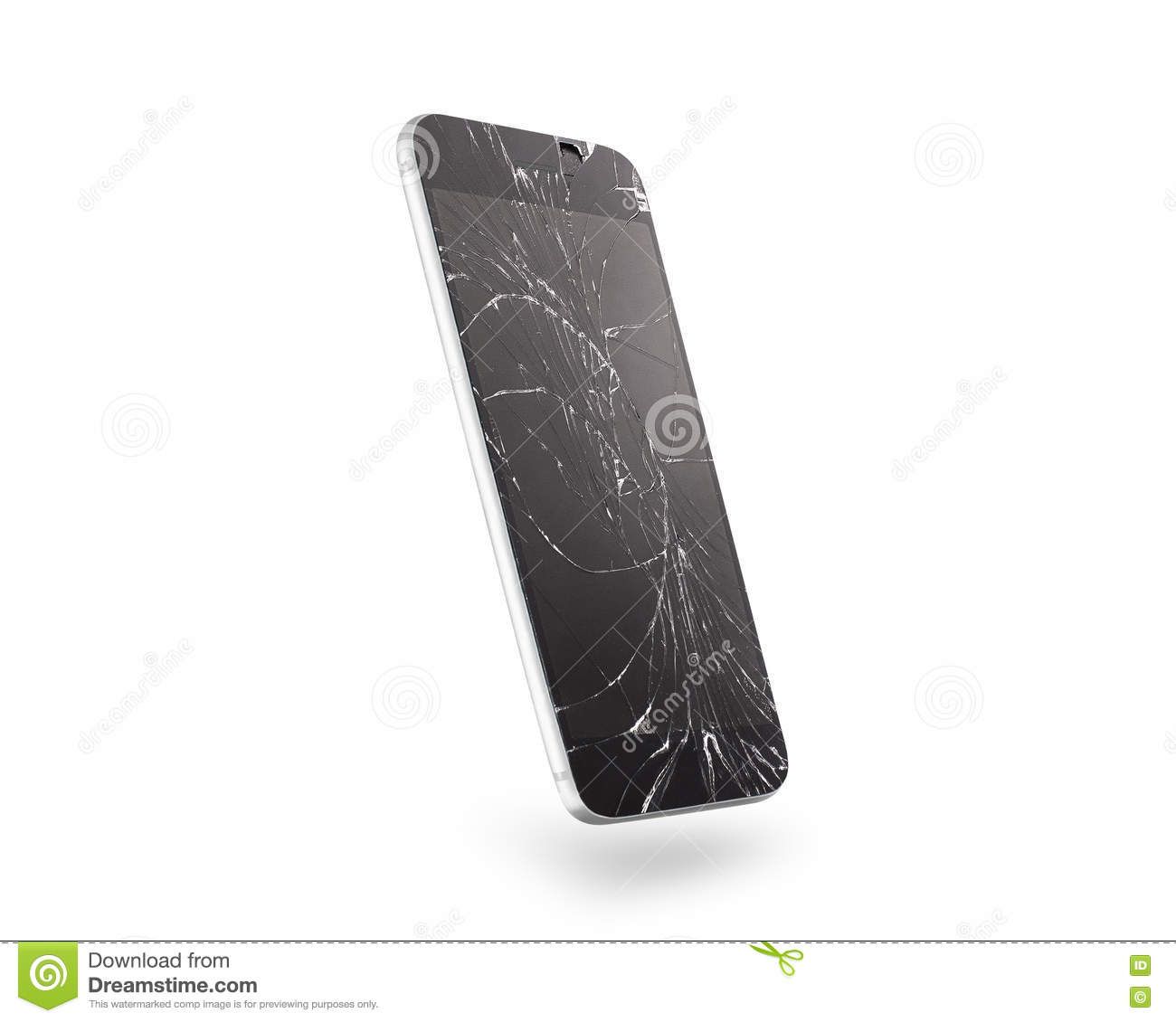 Broken mobile phone screen, side view, isolated, clipping path.