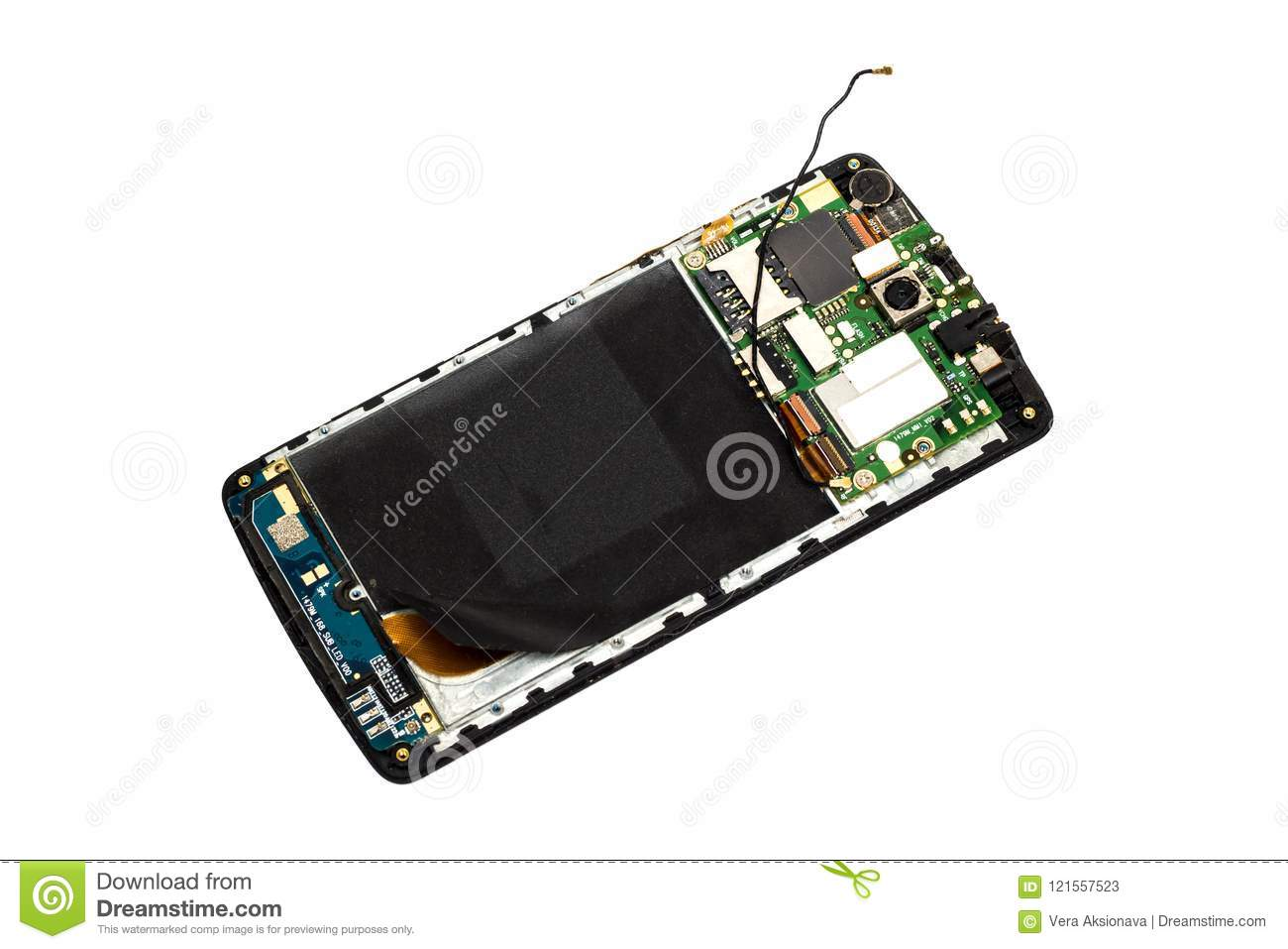 Broken mobile phone on a white background