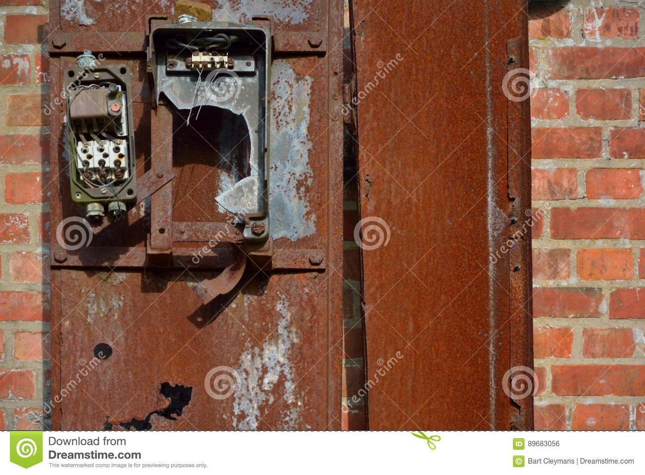 broken old ancient rotten metal electrical fuse box stock electrical fuse box electric fuse box on demolished house