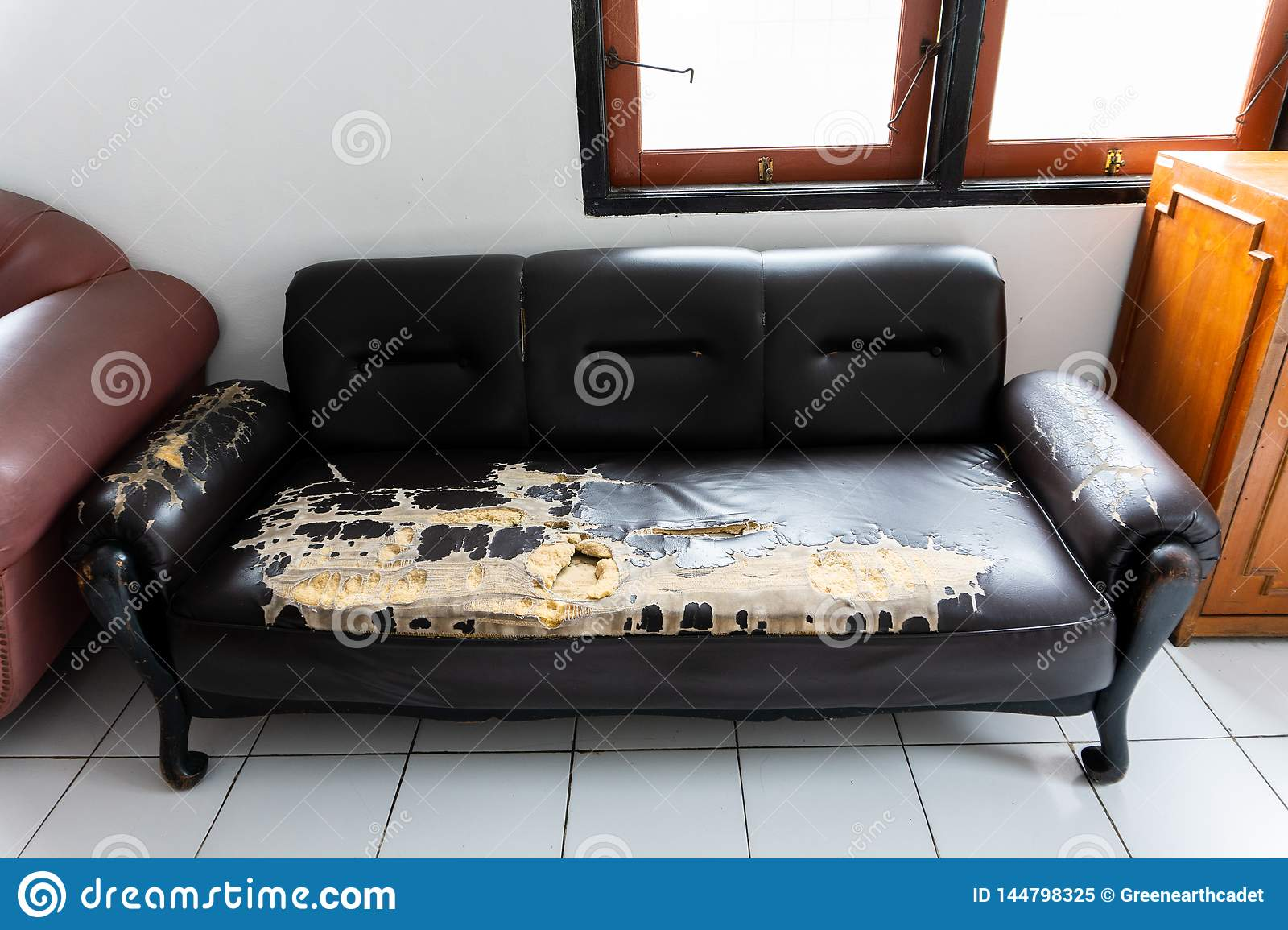 Broken And Old Brown Couch Chairs Stock Image Image Of