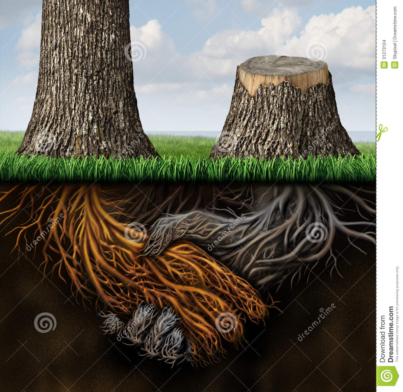 Broken partnership problems as two trees with roots shaped as a ...