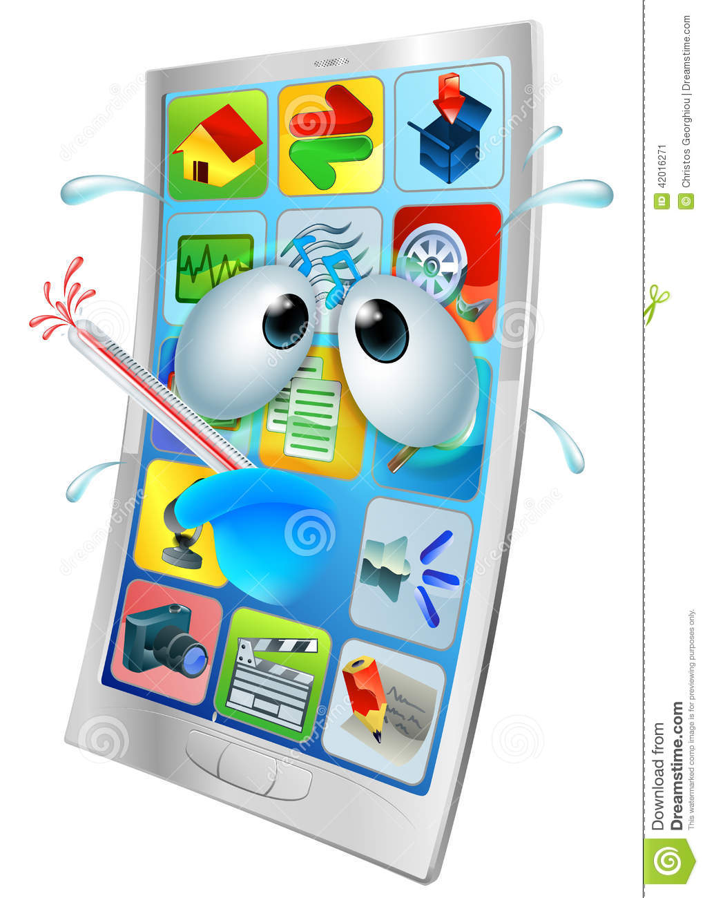 Broken Phone Virus Cartoon Stock Vector