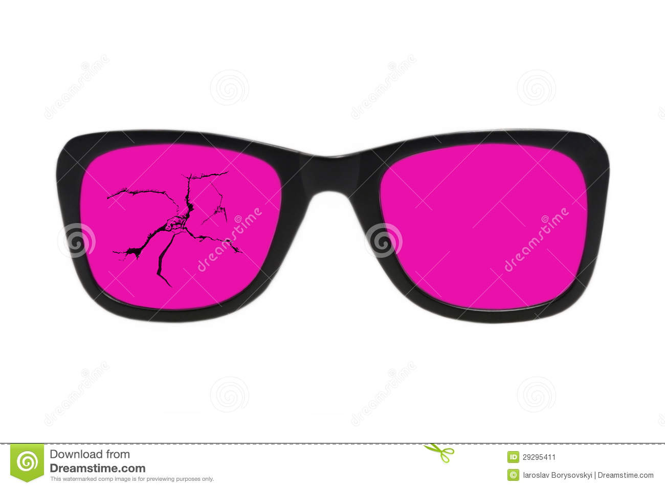 Broken Pink Glasses In Black Frame.Isolated . Stock Image - Image of ...