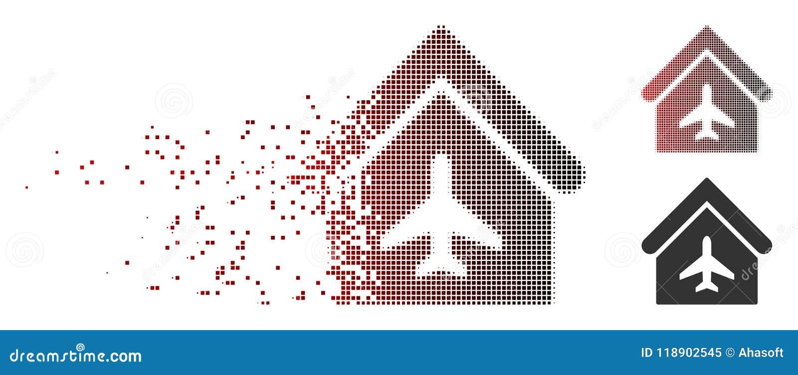 Broken Pixel Halftone Aircraft Hangar Icon