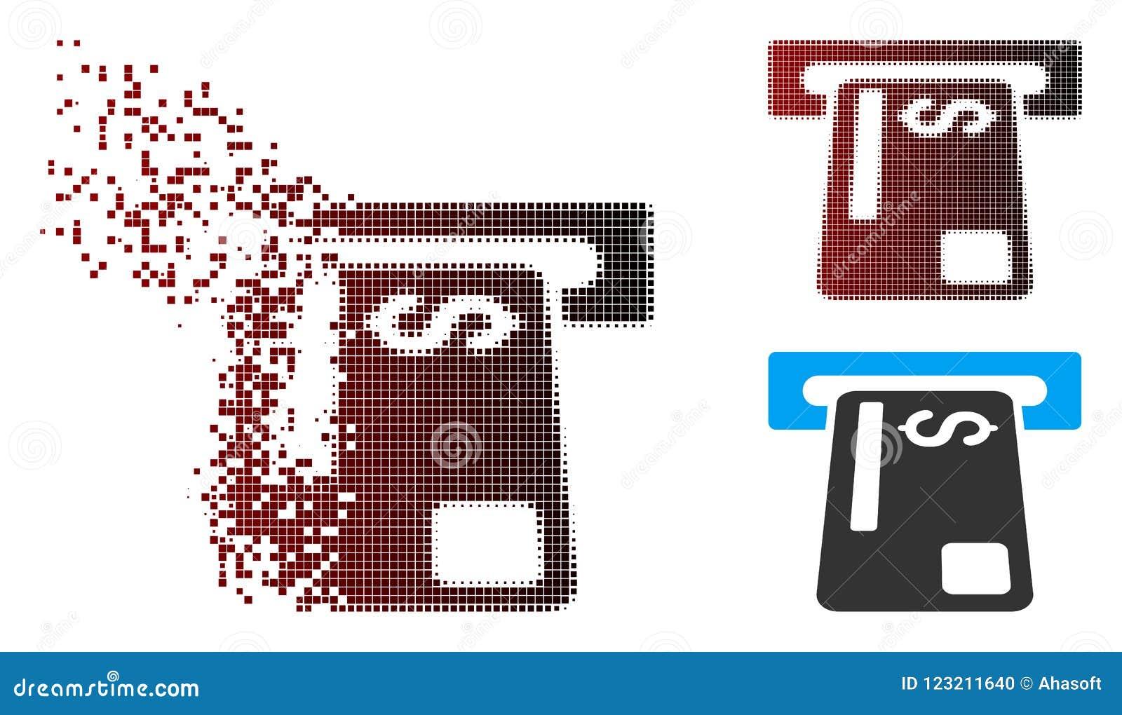 Broken Pixel Halftone Bank Card Terminal Icon Stock Vector