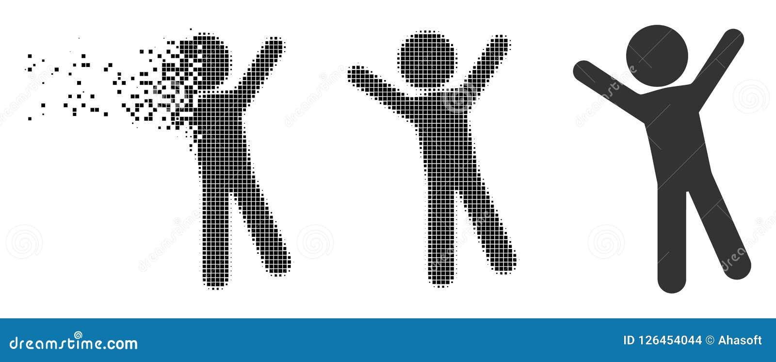 Broken Pixels: Broken Pixel Halftone Child Joy Icon Stock Vector
