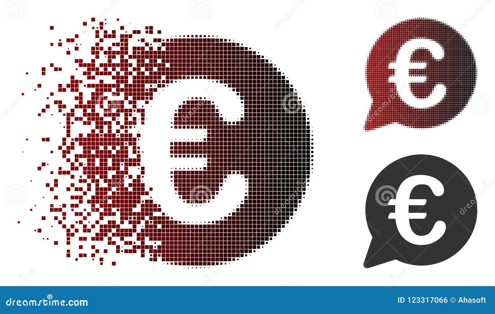 Broken Pixel Halftone Euro Message Bubble Icon Stock Vector