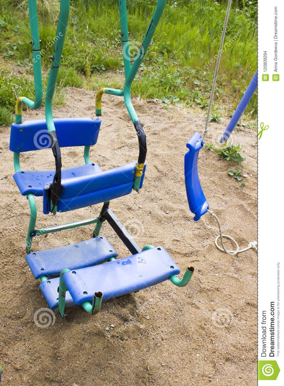 The Unsafe Child Less Outdoor Play Is >> Broken Plastic Children S Swing In A Playground Painted Welding On