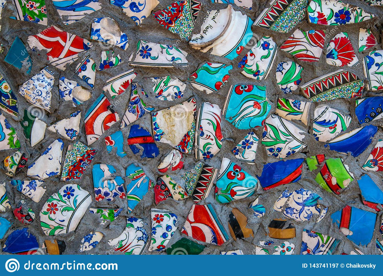 Broken Plate Colorful Debris Mosaic Background Abstract Art Design Of Wall Ceramic Pattern Stock Image Image Of Decor Ornament 143741197