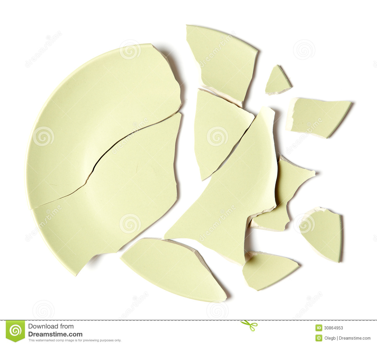 Broken Plate On White Stock Photos Image 30864953
