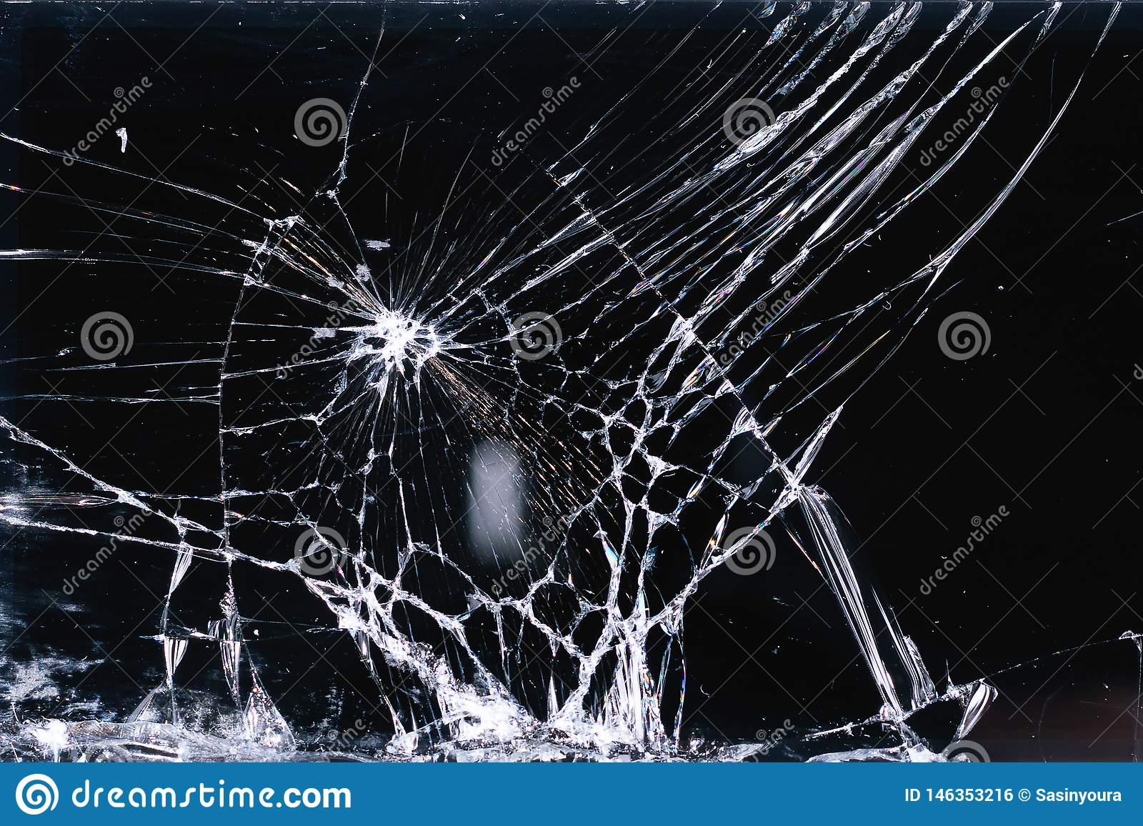 Broken and racked glass screen smartphone , white lines on black background, design element, backdrop texture