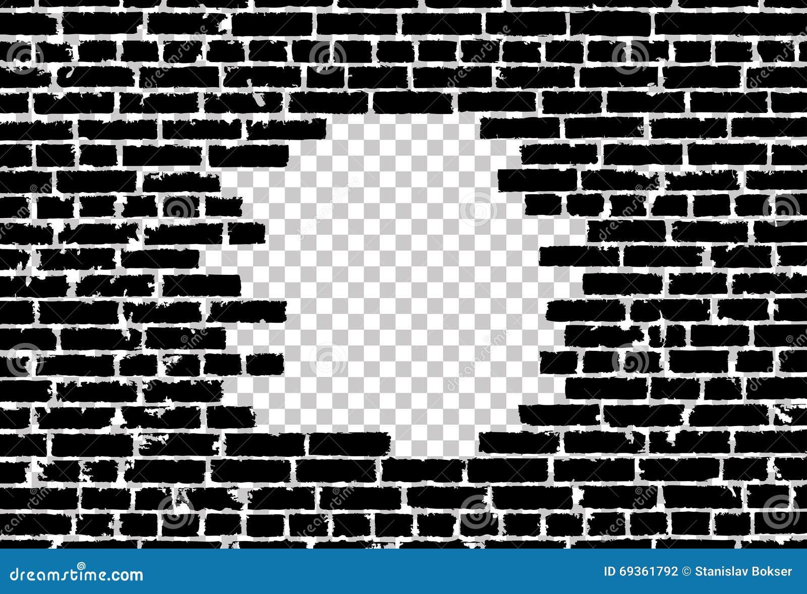 Broken Realistic Old Black Brick Wall Concept On Transparent